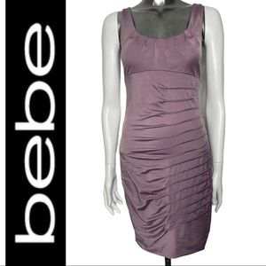 Bebe Sleeveless Ruched Bodycon Fitted Dress